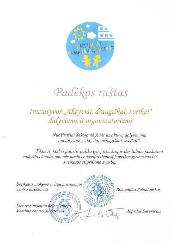 padekos-rastas-mokykloms-uz-dalyvavima-iniciatyvoje